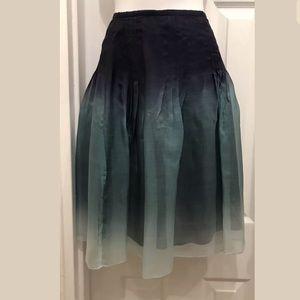 Theory Blue Oumbre Sheer Silk Skirt size 2